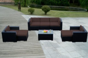 Genuine Ohana Outdoor Patio Sofa Wicker Furniture 8pc Couch Set with Free Patio Cover