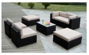 Genuine Ohana Outdoor Patio Wicker Furniture 7pcs All Weather Gorgeous Couch Set