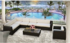 Lexington modern outdoor patio furniture set 7 pcs