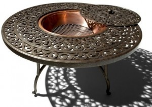Strathwood St. Thomas Cast-Aluminum Round Table with Fire Pit