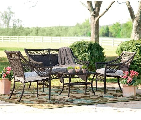 4-Piece Brown Wicker And Cast Aluminum Outdoor Furniture Set With Seat Cushions