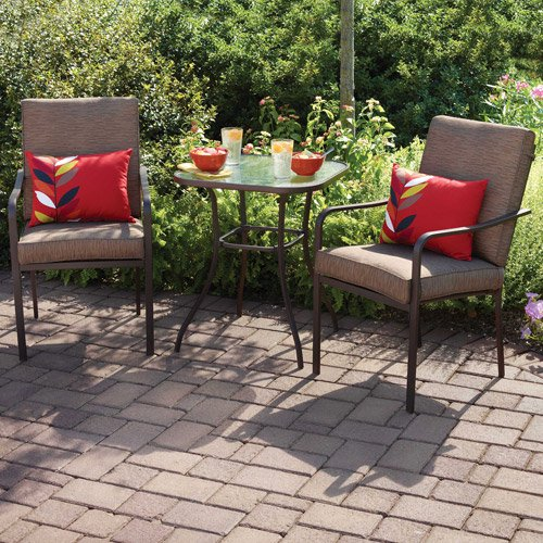 crossman 3 piece all weather square outdoor bistro furniture patio set