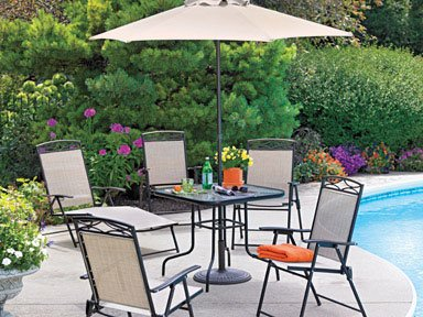 living accents steel folding patio set with umbrella folding