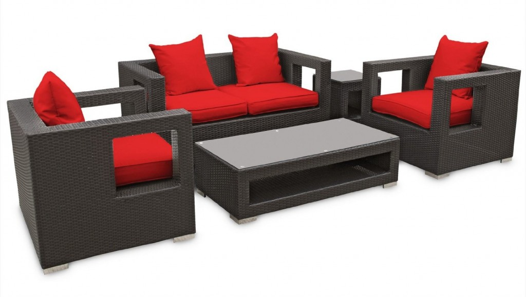 LexMod Lunar 5-Piece Outdoor Rattan Furniture Set