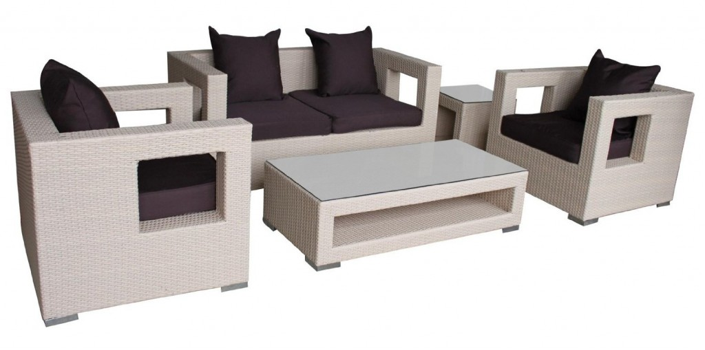 LexMod Lunar 5-Piece Outdoor Rattan Furniture Set_Tan