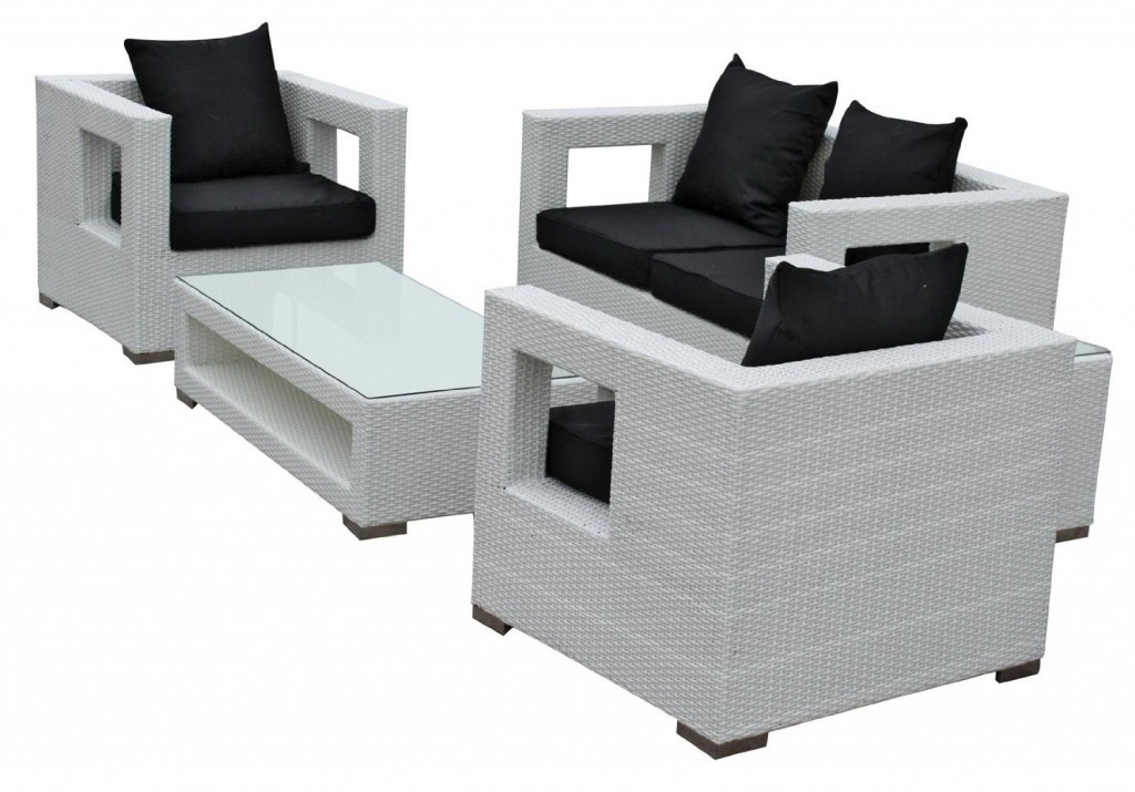 LexMod Lunar 5-Piece Outdoor Rattan Furniture Set_White