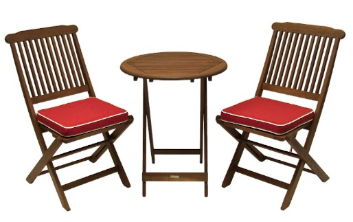 Outdoor Interiors Eucalyptus 3 Piece Round Bistro Outdoor Furniture Set