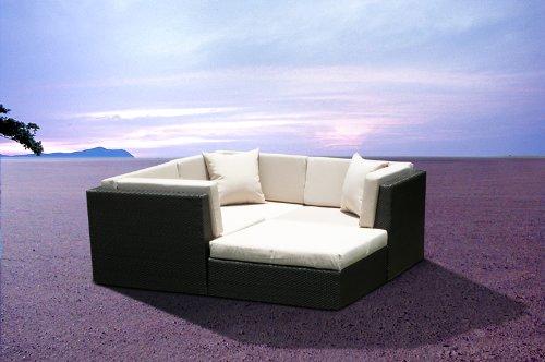 Outdoor Wicker Furniture New All Weather PE Resin 4pc Patio Deep Seating Lounge Sectional Sofa Set