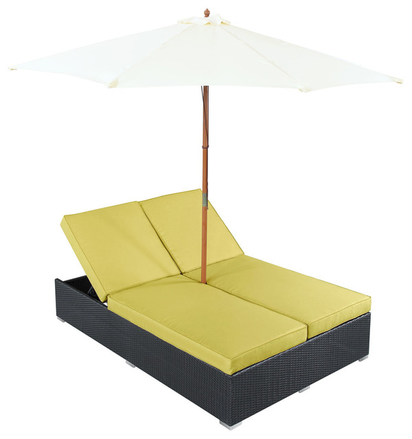 Lexington Modern Outdoor Chaise Lounge with Umbrella