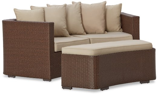 Strathwood Griffen All-Weather Wicker Curved Loveseat with Ottoman_