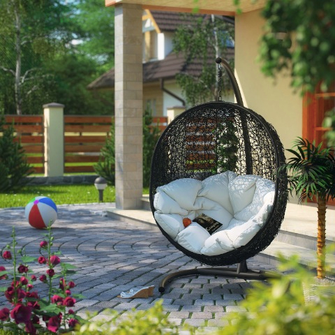 Encase Swing Outdoor Patio Lounge Chair in Espresso White - Chaise Lounge Archives - Discount Patio Furniture Buying Guide