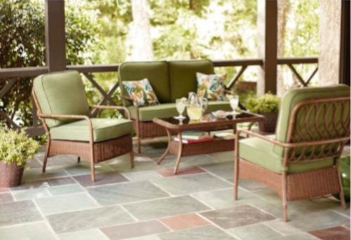 Hampton Bay Clairborne 4 Piece Patio Seating Set With Moss Cushions Discount Patio Furniture