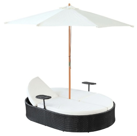 nagoya dual outdoor patio chaise in espresso white