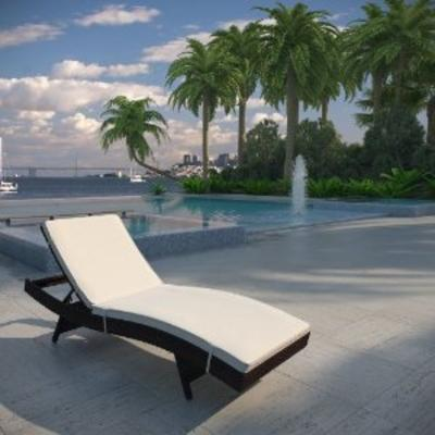 Peer Outdoor Patio Chaise in Brown White