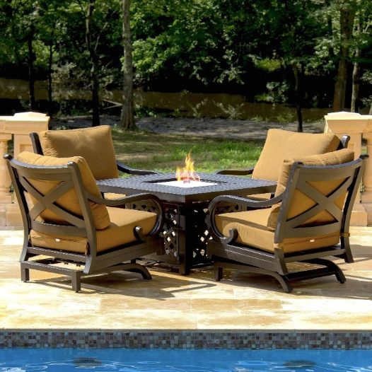 Avondale 4-person Cast Aluminum Patio Deep Seating Set With Fire Pit Table