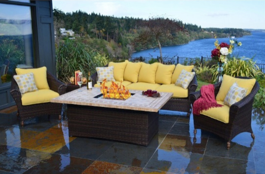 Charming Outdoor Innovations Bellamar 6 Piece All Weather Wicker Fire Conversation  Furniture Set