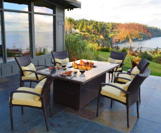 Superb Outdoor Innovations South Beach 7 Piece All Weather Wicker Fire Dining Set
