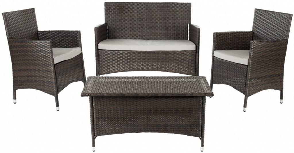 Safavieh Home Collection Briana Brown Outdoor Living Wicker Patio Set - Where To Buy Outdoor Patio Conversation Sets For Under $500