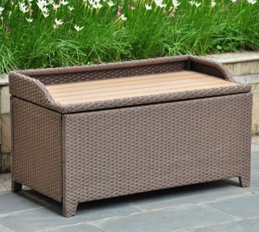 Barcelona Wicker Resin Storage Bench Finish