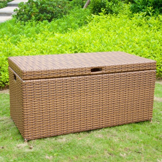 Jeco Outdoor Wicker Patio Furniture Storage Deck Box