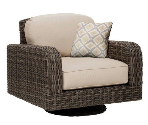 Brown Jordan Northshore Patio Motion Lounge Chair in Sparrow with Bazaar Throw Pillow