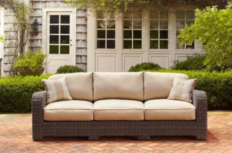 Brown Jordan Northshore Patio Sofa in Harvest with Regency Wren Throw Pillows